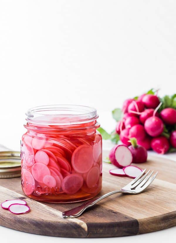This quick pickled radish recipe makes the best pickled radishes in only about 10 minutes hands-on time! They're great on tacos, avocado toast, pulled pork, and more!
