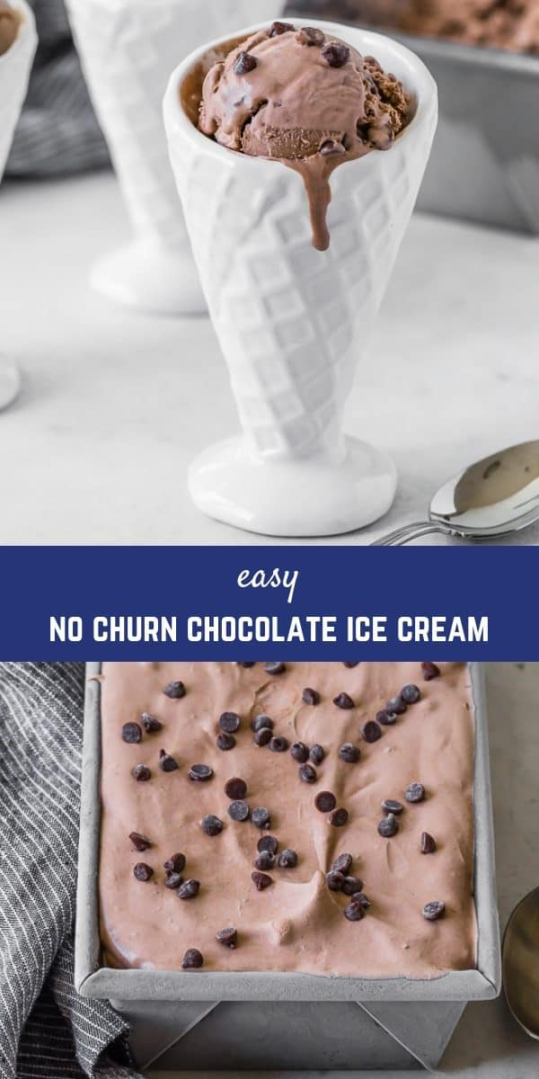 Creamy and smooth no churn chocolate ice cream is easy to make without an ice cream maker! Add chocolate chips for double the chocolate!