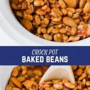 "CROCK POT BAKED BEANS yield: 12 SIDE SERVINGS prep time: 15 MINUTES cook time: 4 HOURS total time: 4 HOURS 15 MINUTES The perfect blend of tangy and sweet, these crock pot baked beans are perfect for any BBQ or party! They'll stay warm all evening, but they'll disappear quickly! No Ratings PRINT Sponsored by APT2B La Brea Queen Size Sleeper Sofa See More Report this ad INGREDIENTS 1 jar (48 oz jar) Great Northern Beans, rinsed and drained 1 can (15.25 oz) butter beans, rinsed and drained 3/4 cup ketchup 1/2 cup packed dark brown sugar 1 medium yellow onion, finely diced (about 1 cup) 3 tablespoons molasses 1 tablespoon dijon mustard 2 tablespoon white vinegar 6 oz. of sliced bacon, cut into ~1/2″ chunks (center-cut preferable) 1/2 teaspoon ground black pepper salt to taste INSTRUCTIONS Combine all ingredients in a slow cooker or crock pot. Cover and cook on low for 6-8 hours or high for 4 hours. Stir and reduce heat to ""keep warm"" when finished cooking. Store leftovers in an airtight container in the fridge for 2-3 days. NUTRITION INFORMATION: YIELD: 12 SERVING SIZE: 1 Amount Per Serving: CALORIES: 151 TOTAL FAT: 5g SATURATED FAT: 2g TRANS FAT: 0g UNSATURATED FAT: 3g CHOLESTEROL: 14mg SODIUM: 462mg CARBOHYDRATES: 20g FIBER: 2g SUGAR: 15g PROTEIN: 7g RachelCooks.com sometimes provides nutritional information, but these figures should be considered estimates, as they are not calculated by a registered dietician. Please consult a medical professional for any specific nutrition, diet, or allergy advice. © RACHEL GURK CUISINE: AMERICAN / CATEGORY: SIDES & VEGETABLES"