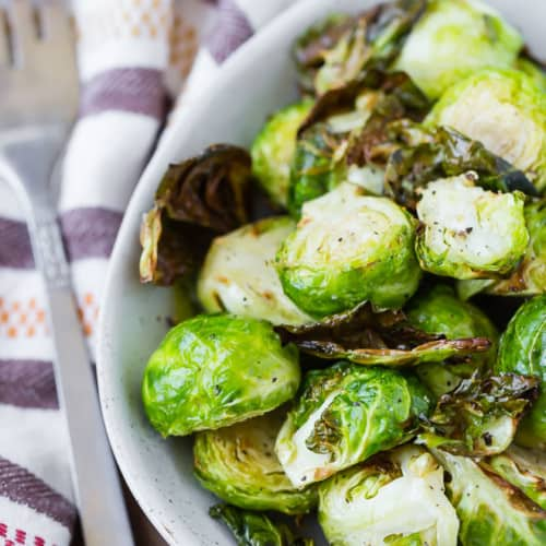 These air fryer Brussels sprouts get crispy and deliciously golden brown with very little oil thanks to the magic of the air fryer!