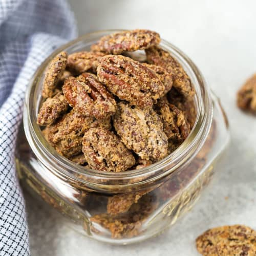 Image of candied bourbon pecans in a jar.