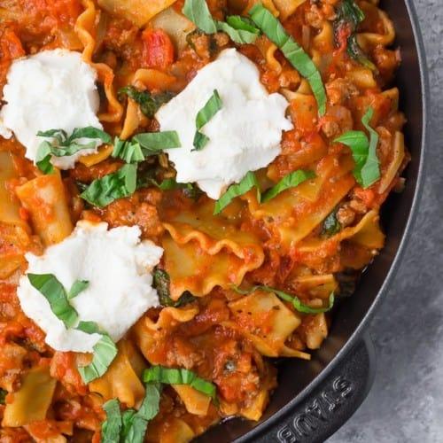 Close up photo of skillet lasagna
