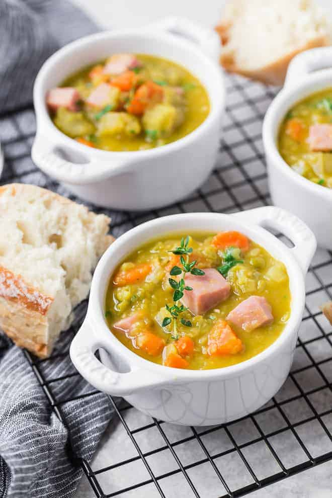 Image of pea soup with ham.