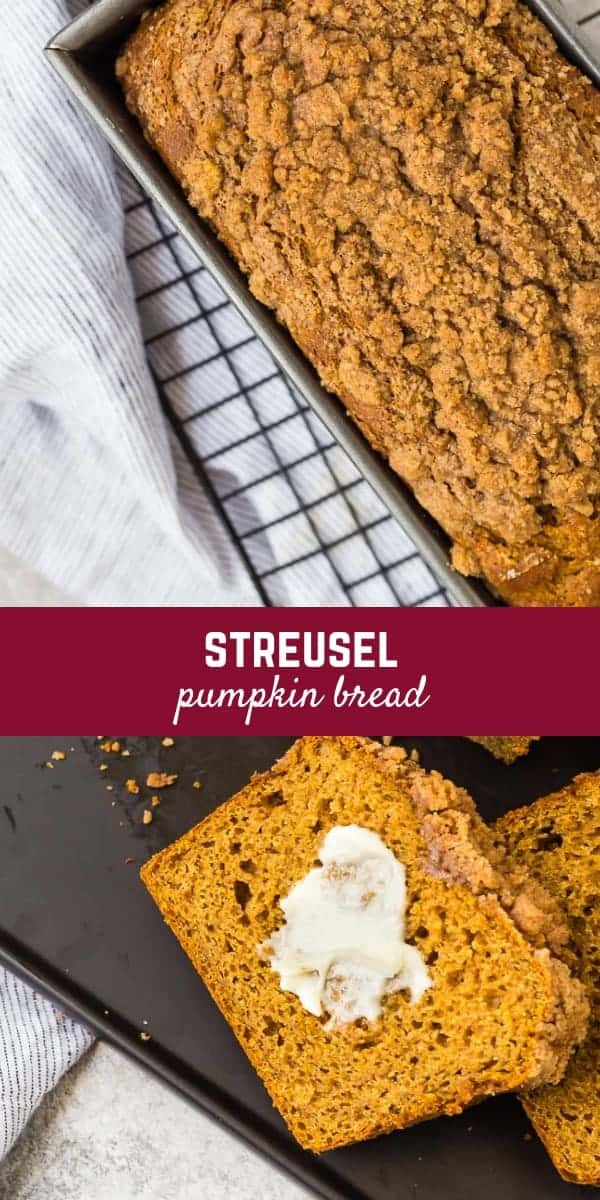 This pumpkin streusel bread starts with a healthier base and is topped with the most irresistible streusel! It's perfect for fall...and beyond!