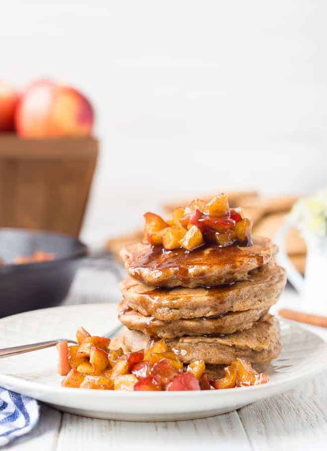 Image of apple quinoa pancakes topped with an apple compote.