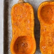 Image of two roasted butternut squash halves.