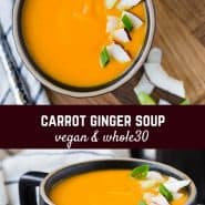 So creamy and satisfying, this carrot ginger soup made with coconut milk will warm you up inside and out, and at 100 calories per serving, you won't have to feel guilty about eating it.