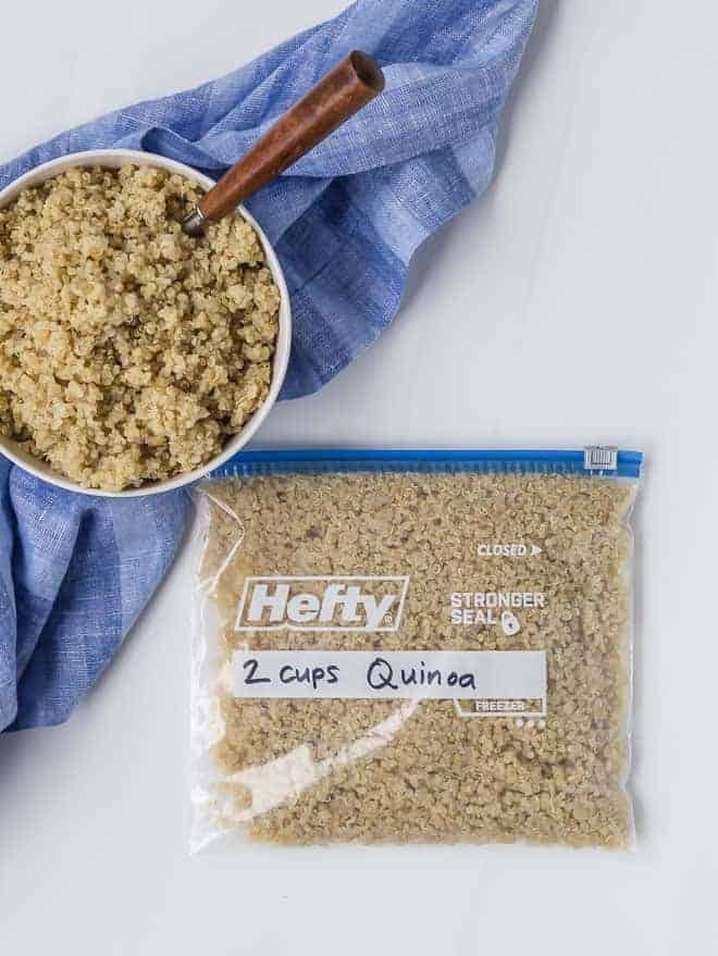 Cooked quinoa, in a bowl, and in a quart size freezer bag, labeled and dated.
