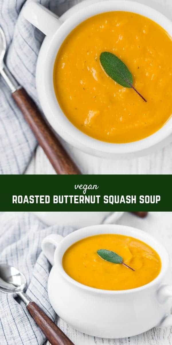 This easy roasted butternut squash soup is full of flavor and is ultra-creamy, without any cream or butter! It's the perfect fall soup.