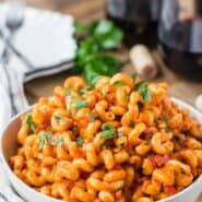 Image of pasta with pancetta in an easy smoky tomato sauce.