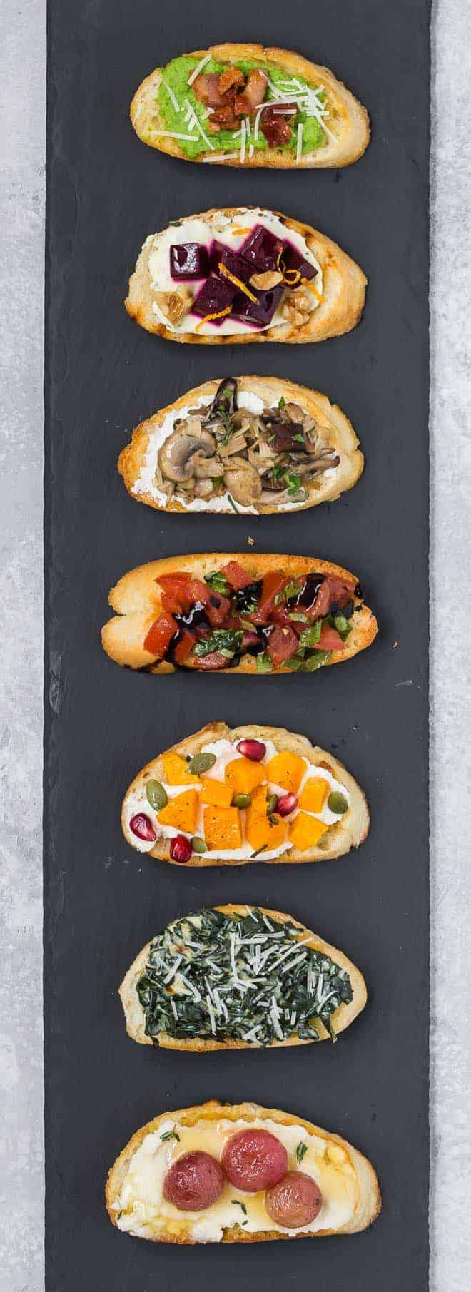 7 different toppings for crostini and bruschetta