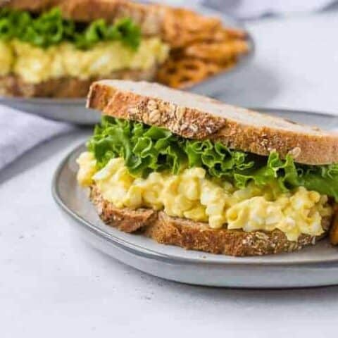 image of healthy egg salad on wheat bread