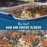 Easy oven baked ham and cheese sliders are perfect for a crowd. Oozing with Swiss cheese and loaded with ham, these tasty sliders will disappear quickly.