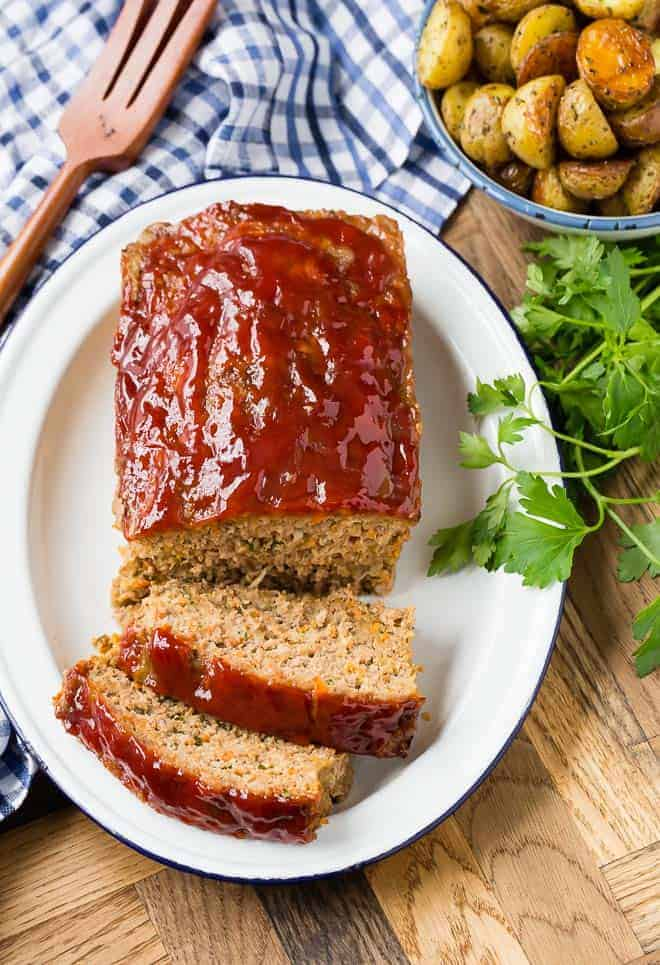Image of pork, beef, and turkey meatloaf, shot from above.