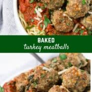 Image of baked turkey meatballs piled on top of spaghetti and marinara sauce.