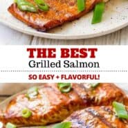 This is the best grilled salmon recipe! The marinade makes the fish so flavorful and it's ridiculously easy to make! The perfect healthy dinner - it's going to become your go-to salmon recipe! #grilling #salmon #marinade #easy