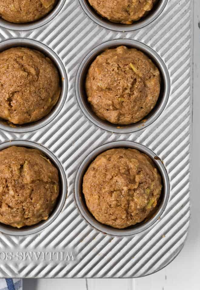 Healthy whole wheat apple cinnamon muffins in a muffin pan.