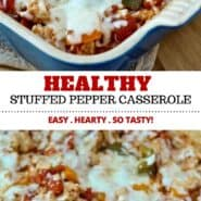 This Healthy Stuffed Pepper Casserole with cheddar and ground turkey is a great go-to meal for nights when you don't really feel like cooking. This recipe is easy to make, hearty, and tastes great! #healthy #easy #casserole #dinner
