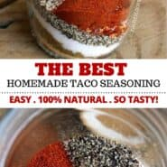 Make your own healthy homemade taco seasoning recipe without MSG or additives. It's easy to make, 100% natural and tastes delicious. Make extra to keep on hand for chicken, beef and so many other uses! It's not only for tacos — you can use it in so many recipes! #tacos #healthy #homemade #tacoseasoning