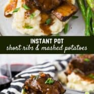 These Instant Pot short ribs are fall-off-the-bone tender in less than an hour under pressure, and the best part is the mashed potatoes cook AT THE SAME TIME in the Instant Pot!