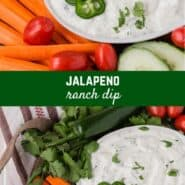 Creamy jalapeño ranch dip is loaded with mild chile peppers, both jalapeño and canned green chiles. Enjoy it with chips, veggies, tacos, or salads.