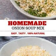 Homemade onion soup mix is so easy to make and perfect for homemade french onion dip, meatloaf, burgers, soup, and more! So many uses! The best part is, this recipe has no weird ingredients or MSG! #homemade #onionsoup #easy #diyonionsoupmix