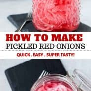 Learning how to make quick pickled red onions is SO easy! This recipe is the best and only takes five minutes and you probably have all the ingredients! You'll love having a jar of these in your fridge for tacos, avocado toast, and more! #pickled #redonions #easy #topping