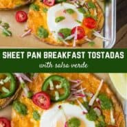 A Southwestern take on eggs and toast, these sheet pan breakfast tostadas are a step away from ordinary, with crunchy corn tortillas, sharp cheddar cheese, eggs, and brilliant salsa verde.