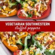 Vegetarian stuffed peppers bursting with a flavorful healthy filling of corn, pinto beans, tomatoes and green chiles, along with rice and cheese. Perfect as a main dish or a side.