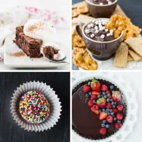 A collection of scrumptious easy chocolate desserts including cakes, pies, ice cream, cookies, and dips. A chocolate lover's dream!