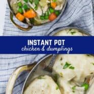 Redolent with chicken, vegetables, herbs, white wine enhanced creamy sauce, and plump chive dumplings, Instant Pot Chicken and Dumplings is homemade comfort, warming you from the inside out.