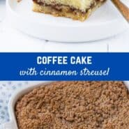 Rich with butter and sour cream, and topped with sweet cinnamon streusel, this classic coffee cake recipe is perfect with a steaming cup of coffee or tea.