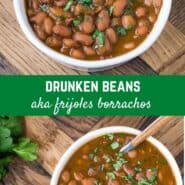 "Slow simmered pinto beans, Frijoles borrachos, or ""drunken beans"" get their flavor from dark Mexican beer and bacon. Juicy and bursting with flavor!"