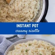 Creamy Instant Pot risotto doesn't require standing by a hot stove and stirring for 20 minutes or more. You'll love this hands off method of making risotto!
