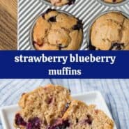 Collage of images of strawberry blueberry muffins.