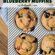 "Overhead image of muffins in a tin with a text overlay that reads ""strawberry blueberry muffins"""