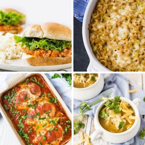 Collage of four 5 ingredient dinner recipe photos.