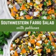 Exploding with color and flavor, this farro salad recipe has it all: roasted sweet potatoes, spicy roasted poblano peppers, black beans, corn, and cilantro, with an easy homemade chili lime dressing.