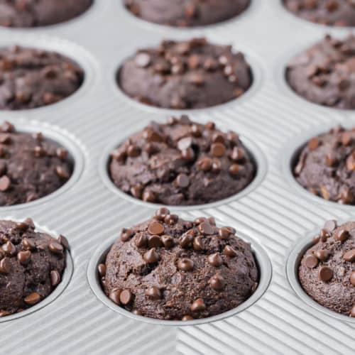 A muffin pan full of whole wheat chocolate muffins, sprinkled with mini chocolate chips.