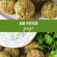 "A collage of falafel images, with a text overlay that reads ""air fryer falafel."""