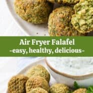 "A collage of falafel images, with a text overlay that reads ""air fryer falafel, easy, healthy, delicious."""