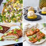 Collage of four images of food that has been made on the grill. From top left clockwise, a grilled pizza, grilled pineapple and ice cream, grilled salmon, and grilled bacon-wrapped chicken.