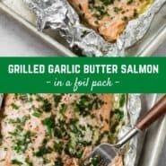 Two images of grilled garlic butter salmon with a text overlay with the recipe title.