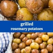 "Two images of baby potatoes with rosemary, wrapped in foil. A text overlay reads ""grilled rosemary potatoes."""