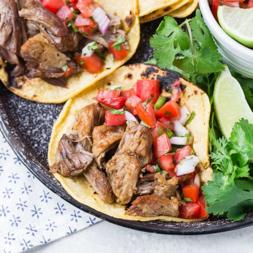 Carnitas on a corn tortilla with pico de gallo.