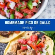 "Collage of photos of pico de gallo with a text overlay reading ""so easy."""
