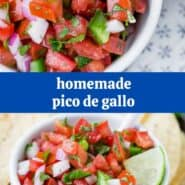 "Collage of photos of tomatoes, onions, and jalapenos with a text overlay reading ""homemade pico de gallo"""