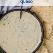 """A text overlay reads """"the best poblano pepper queso"""" over a photo of a black skillet of queso, chips, and fresh cilantro."""