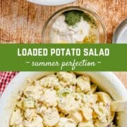"Two images of potato salad with a text overlay that reads ""loaded potato salad."""