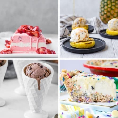 Four frozen desserts, from upper left clockwise: a strawberry ice cream terrine, grilled pineapple topped with ice cream, an ice cream pie, and chocolate ice cream in a white bowl with a cone appearance.